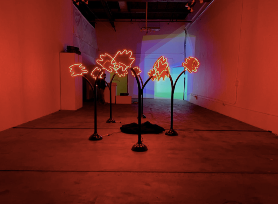 An installation called forest fire by Emma Hendry in the HoloCenter exhibition.