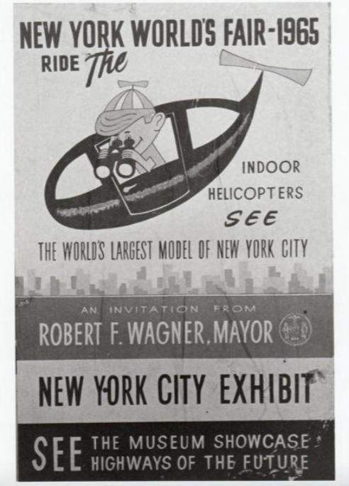 Vintage poster of the helicopter style tour offered at the Queens Museum for the Panorama of the City of New York exhibit.