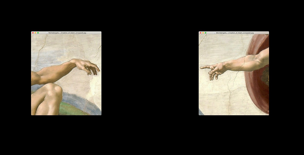 Two cropped rectangle images of the painting, The Creation of Adam, on the left and right side of the image with a black background.