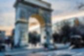 Washington Squar Arch in Washington Square Park. Greewich Village, New York City.