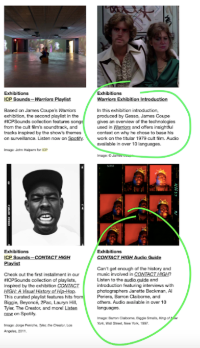 Screenshot from the International Center of Photography's newsletter, encouraging their subscribers to listen to the audio guides for the James Coupe and Contact High exhibitions.