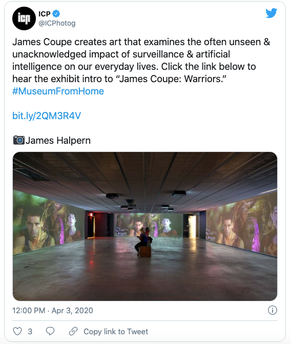 Screenshot of the International Center of Photography's tweet, directing their followers to listen to the James Coupe exhibition audio guide.