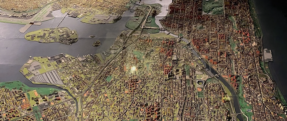 A closeup of the Panorama of the City of New York exhibit at the Queens Museum in Queens, New York.