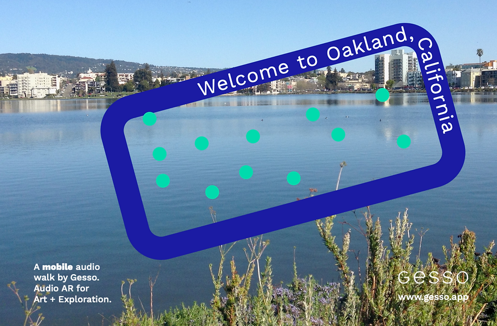 Scenery from Lake Merritt in Oakland California with graphic design elements layered on top including abstract teal circles and an outline of an iphone that says welcome to oakland, california.