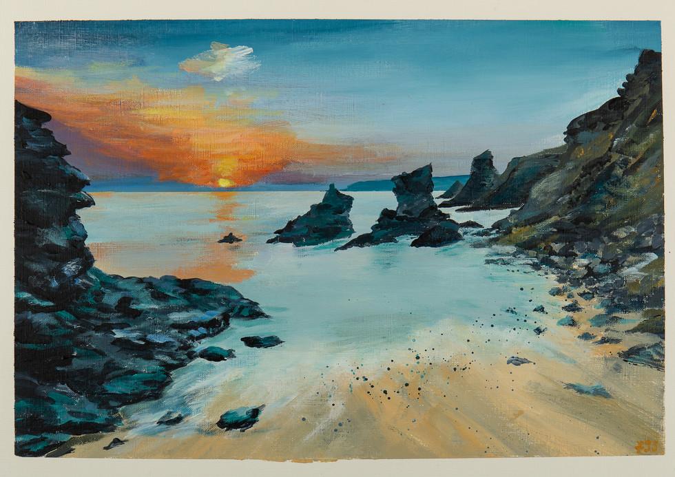 Sunset at Bedruthan Steps beach