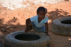 Girl and tire