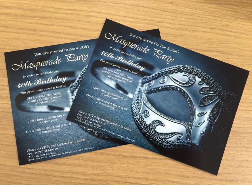 Party invitations and tickets