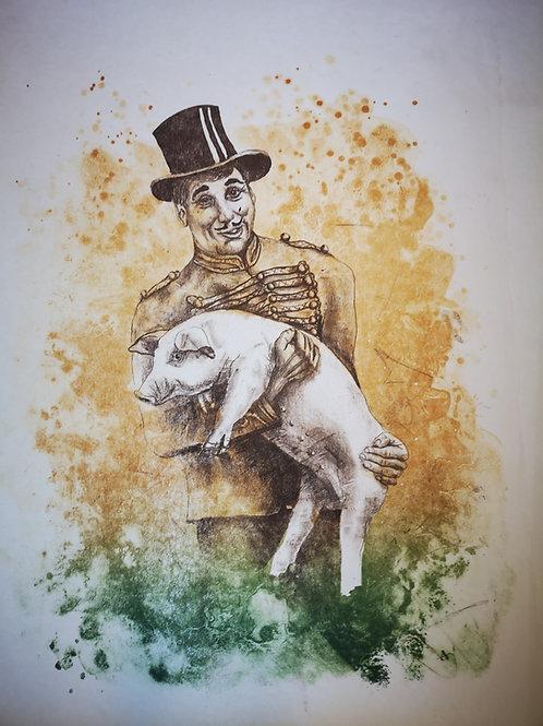 Glückschwein -Originallithogaphie-
