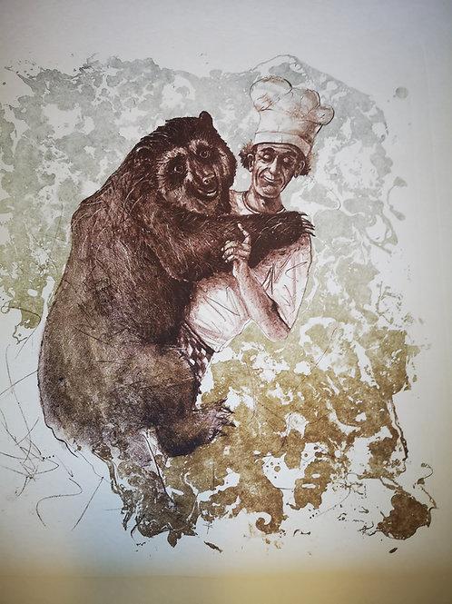 Bärenliebe  -Originallithographie-