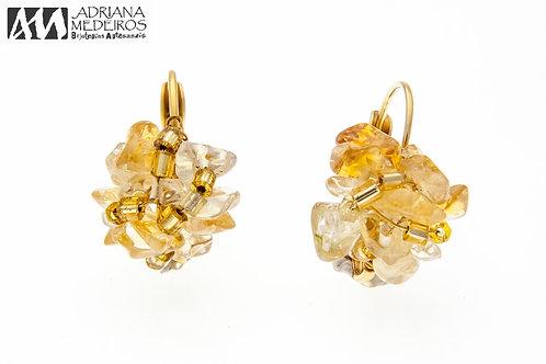 10556 Brinco Naomi, Dourado, cor: Citrino