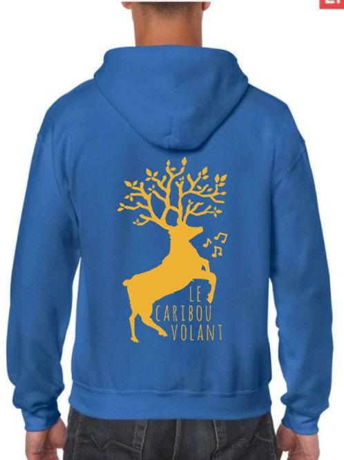 Sweat caribou volant bleu saphir