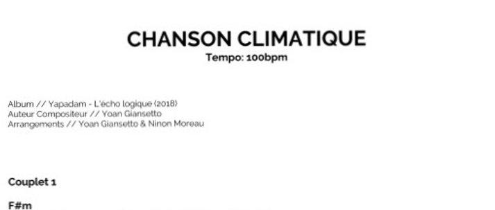 CHANSON CLIMATIQUE Tablature PDF