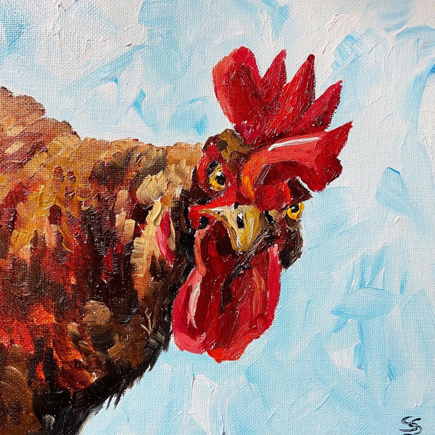 curious chicken painting