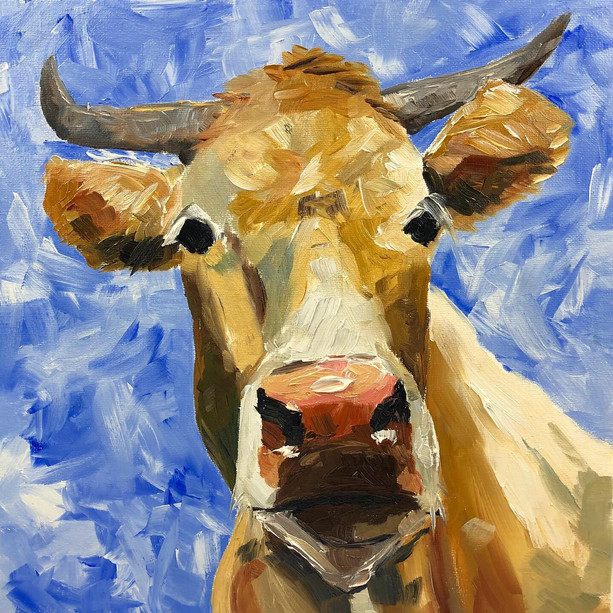 Alpine cattles painting