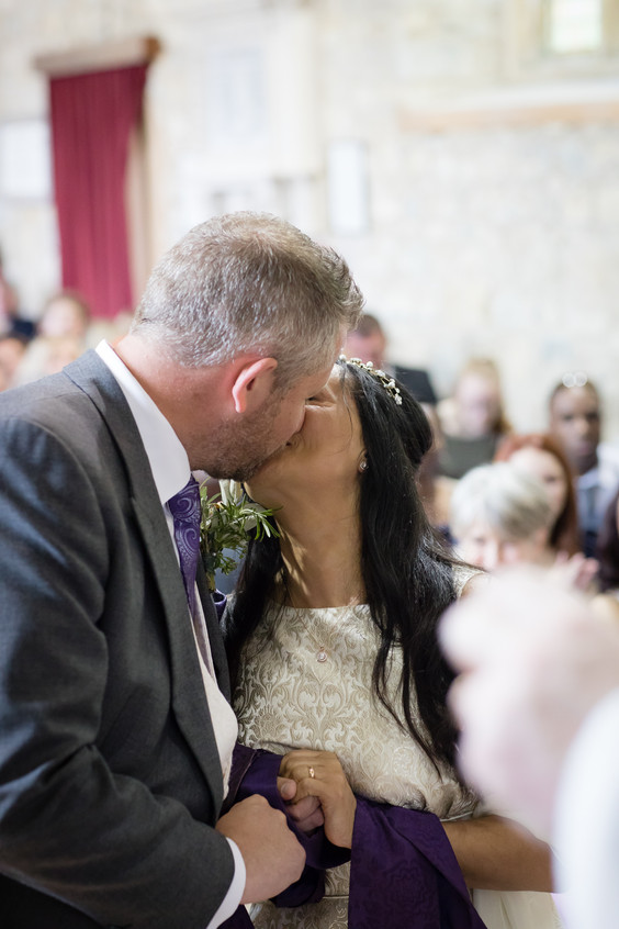 Devon wedding kiss