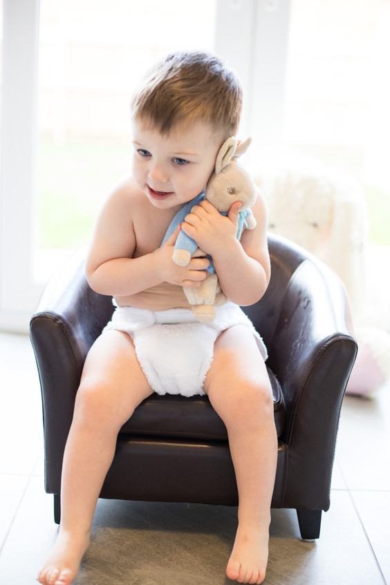 Baby and bunny photo