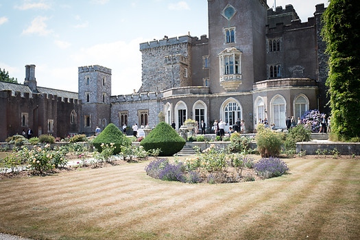 Powderham Castle rose garden on the wedding day