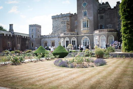 Powderham Castle rose garden on the wedding day