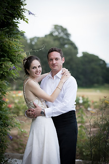 Powderham Castle married couple posing outside the castle