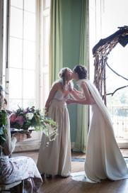 Powderham bride and bridesmaid