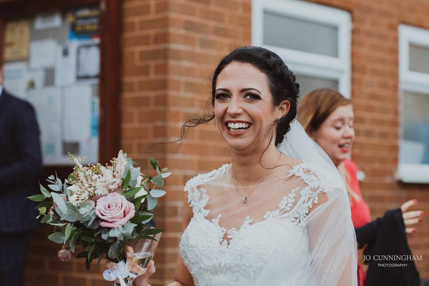 Happy bride candid shot
