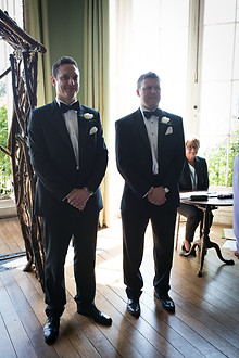 Groom and best man waiting for the bride