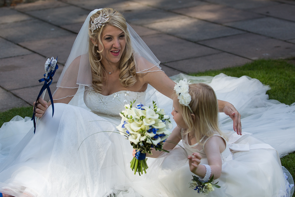 Lakeview bride and flower girl