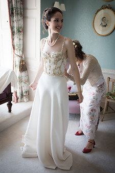 Powderham Castle bride with own designed wedding dress