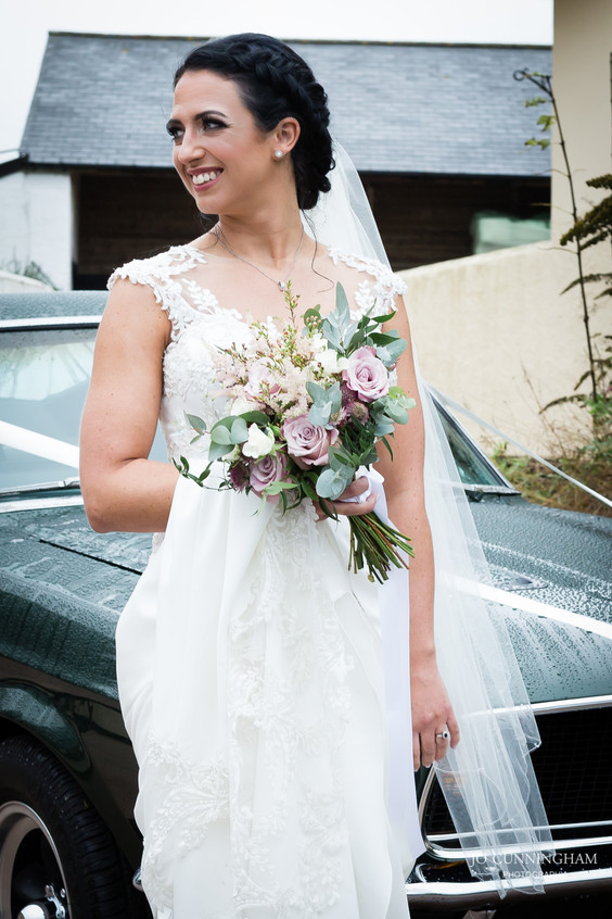 Beautiful bride with her mustang