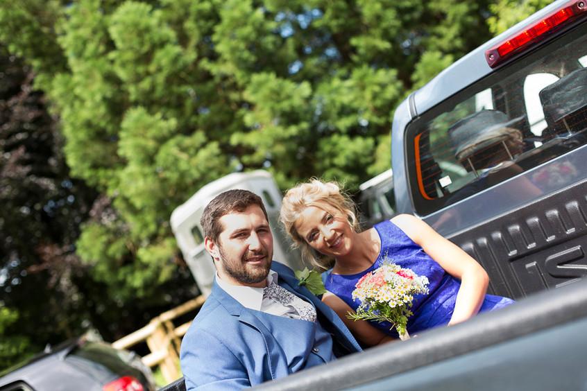Devon bridesmaid pick up truck