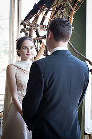 Powderham bride looking lovingly at her groom