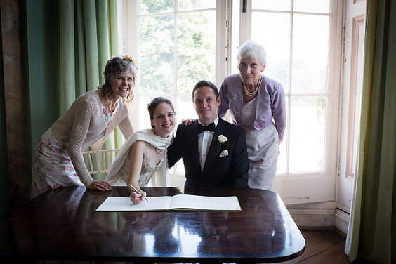 Powderham wedding register signing