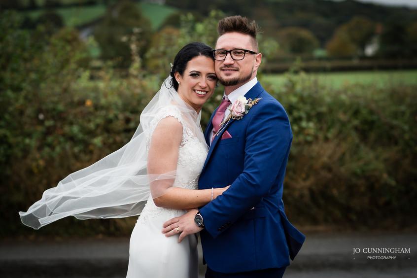 Keeping warm bride and groom