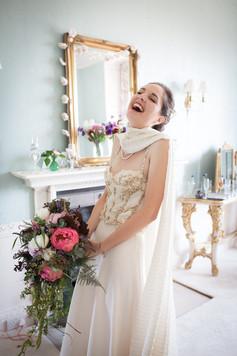 Happy bride at Powderham