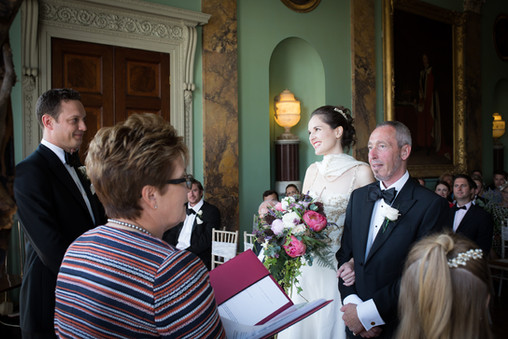 Bride's loving glance