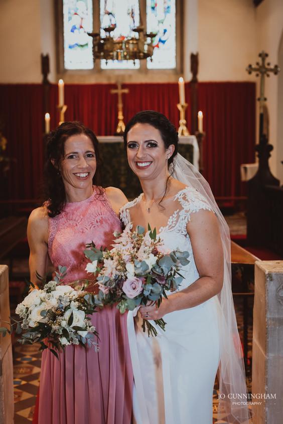 Family wedding photos in church