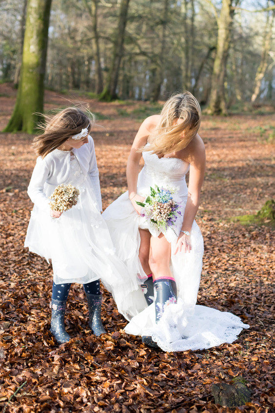 Wedding dress and wellies