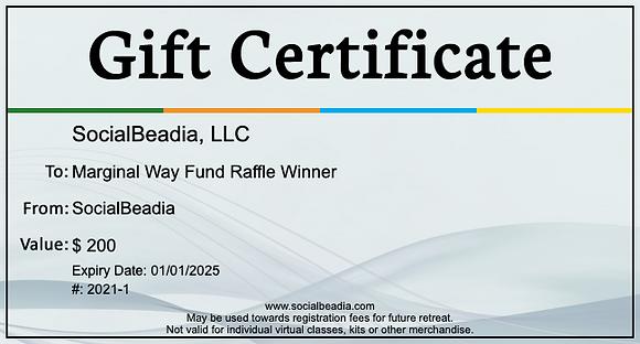 Raffle ticket - $200 SocialBeadia Gift Certificate