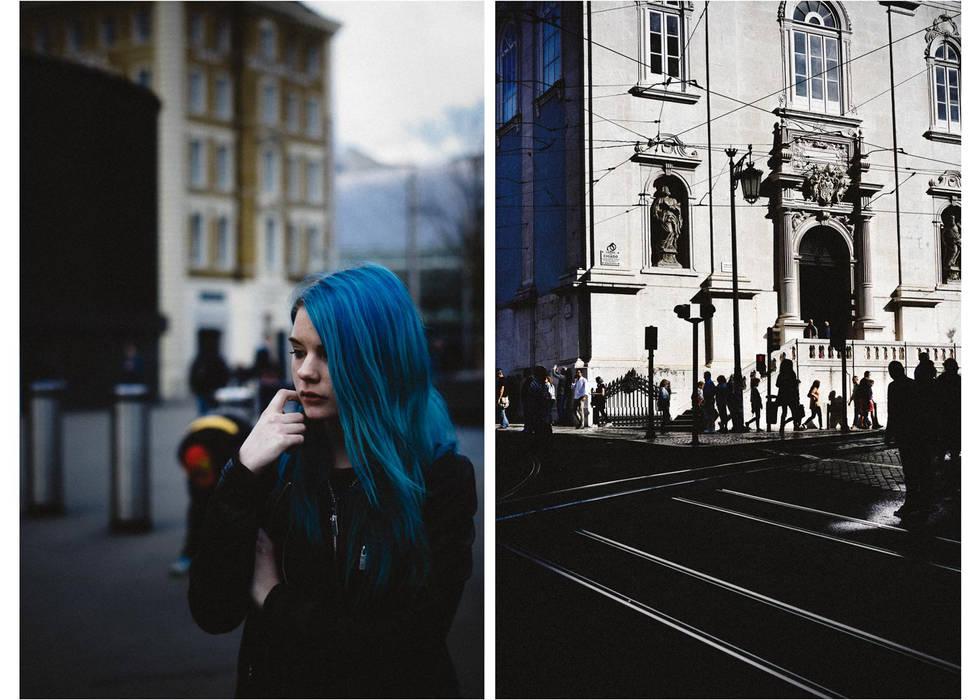 """""""La fille aux cheveux bleus"""", Londres, Angleterre, """"blue hair girl"""", London, England."""