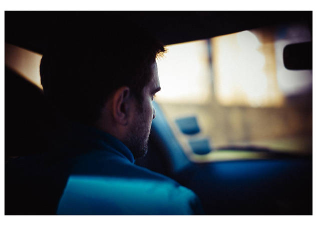 """""""Ambroise in blue car"""", London, England."""