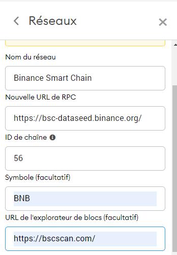 configurer rpc binance smart chain metamask