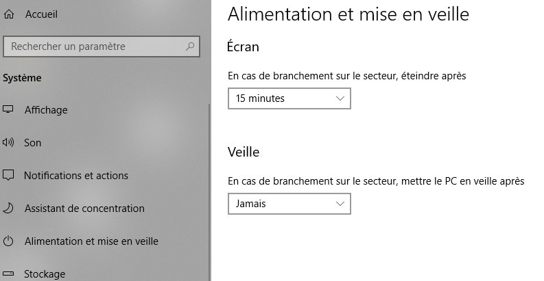 Réglages mise en veille Windows 10