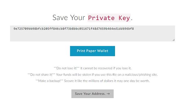 sauvegarde clef privée Myetherwallet MEW