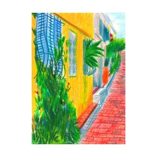 Antibes est une série de dessins sur la ville où j'ai grandi, que j'ai redécouverte pendant mes courtes ballades du confinement. J'ai voulu lui rendre hommage en montrant le regard nouveau que j'ai pu avoir.