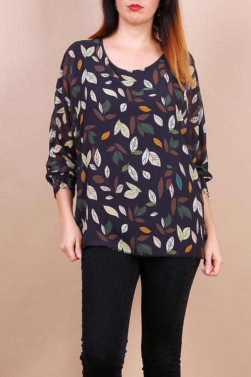 Megan - Bluse med bladmotiv