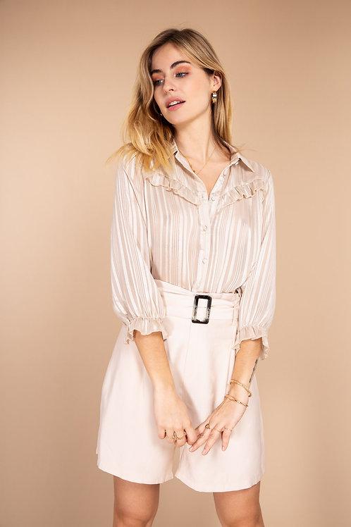 Anne - Skjorte med glitter og flæser