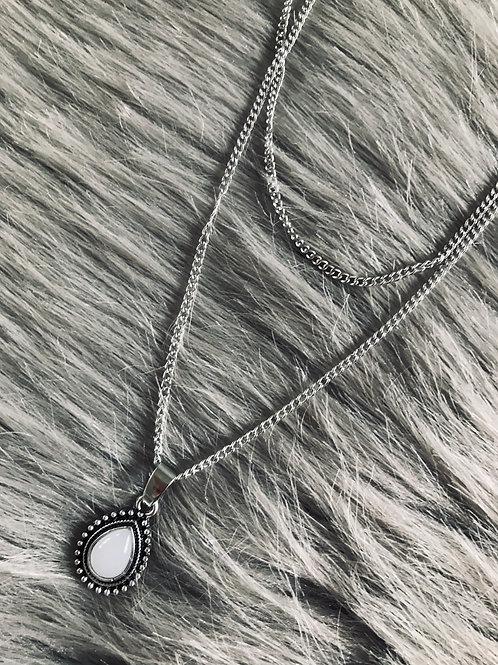 Dobbeltkæde med perle vedhæng