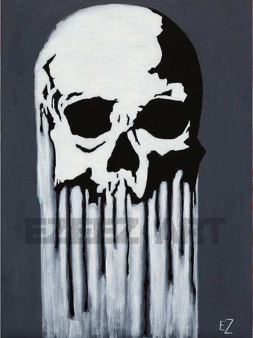 Black and Grey/Bleeding Skull-Print