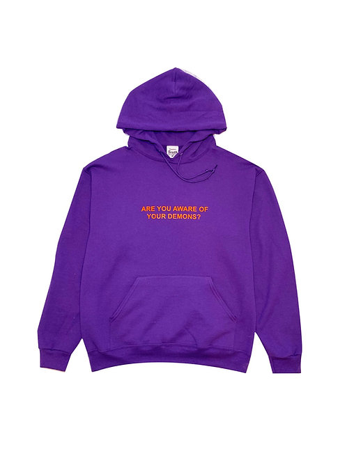 """ARE YOU AWARE"" hoodie (Purple)"