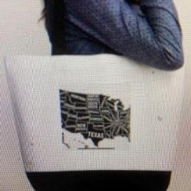 50 States Black Tote Bag